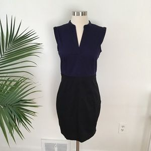 H&M Navy & Black Mini Dress with Jeweled Shoulder